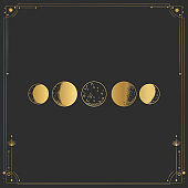 Vector illustration set of moon phases. Different stages of moonlight activity in vintage engraving style. Zodiac Signs. yellow gold