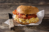 Bagel sandwich with slab bacon, egg and cheese