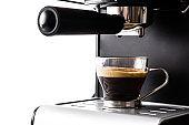 Close up fresh coffee glasses