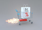 Black friday sale concept. Trolley with shopping bag on rocket. 3D illustration.