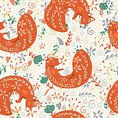seamless patters fox