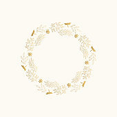Golden wreath with leaves and dragonfly. Circle round floral frame. Vector isolated illustration.