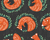 Fox seamless pattern