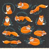 Cute cartoon foxes.