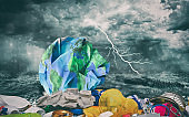 a global ocean plastic garbage pollutionon on the planet