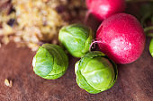 Brussels sprouts with red radish