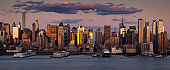 Panoramic New York City sunset on Midtown West skyscrapers. NY, USA