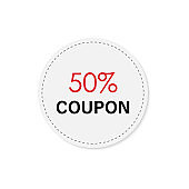 color tag discount 50% coupon icon. Element of discount tag. Premium quality graphic design icon. Signs and symbols collection icon for websites, web design, mobile app