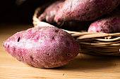 Sweet Potatoes Purple Colored on Table