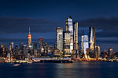 New York City Midtown West skyline from the Hudson River with the skyscrapers of the Hudson Yards (Manhattan)
