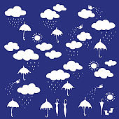 Pretty pattern illustration material of the rain cloud,