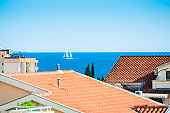 View of the sea and the rooftops in Budva, Montenegro
