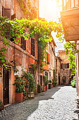 Beautiful street in Trastevere district in Rome, Italy.