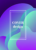 Social media stories design, abstract trendy fluid wavy neon vertical background. Cyan, blue, moonlight colors with gradient. Usable also for cover, flyer layout. Vector illustration, Eps10.