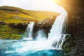 Beautiful waterfall in eastern Iceland