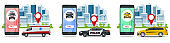 Taxi, ambulance and police car in flat style on white background. Call services city. Vector illustration.