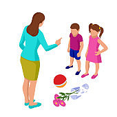 Isometric Strict mother scolds her children for a broken vase while playing football. Kids plead guilty. Misbehavior and parenting.