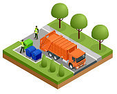 Isometric Garbage Truck or Recycle Truck in City. Garbage Recycling and Utilization Equipment. City waste recycling concept with garbage truck. Vector illustration