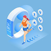 Isometric fitness bracelet or tracker with a smartphone, an athlete running outdoors. Jogging and running infographics