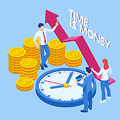 Time is money isometric concept. Business financial ideas, alarm clock and stack of coin. Time management planning, Deadline.