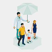 Isometric Health medical and life insurance for the whole family concept. Family Doctor With Happy Parents And Kid. Family doctor man.