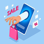 Isometric Online Shopping with Smartphone. E-commerce Shopping. Concept of mobile marketing and e-commerce.