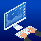 Isometric hands on the keyboard and computer monitor. Businesswoman work chart schedule, planning financial report data methodology.
