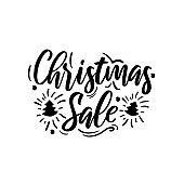 Christmas sale ad text isolated on white.