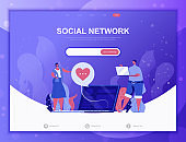 Social Network flat concept vector illustration template for website and mobile app development. Flat landing page template.
