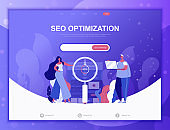 Seo Optimization flat concept vector illustration template for website and mobile app development. Flat landing page template.