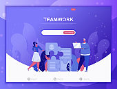 Business Teamwork flat concept vector illustration template for website and mobile app development. Flat landing page template.