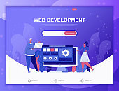 Web Development flat concept vector illustration template for website and mobile app development. Flat landing page template.