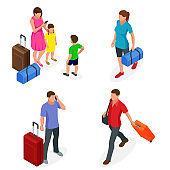Isometric people with travel bag traveling on vacation. Character set. Active recreation, hiking and adventures.