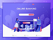 Online Banking flat concept vector illustration template for website and mobile app development. Flat landing page template.