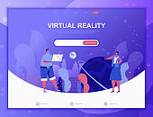 Virtual Reality flat concept vector illustration template for website and mobile app development. Flat landing page template.