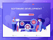 Software Development flat concept vector illustration template for website and mobile app development. Flat landing page template.