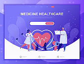 Online Medicine flat concept vector illustration template for website and mobile app development. Flat landing page template.