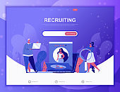Business Recruiting flat concept vector illustration template for website and mobile app development. Flat landing page template.