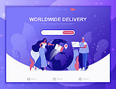 Worldwide Delivery flat concept vector illustration template for website and mobile app development. Flat landing page template.