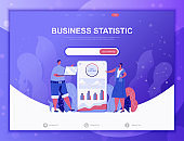 Business Statistic flat concept vector illustration template for website and mobile app development. Flat landing page template.