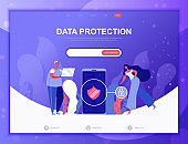 Data Protection flat concept vector illustration template for website and mobile app development. Flat landing page template.