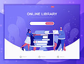 Online Library flat concept vector illustration template for website and mobile app development. Flat landing page template.