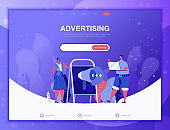 Advertising flat concept vector illustration template for website and mobile app development. Flat landing page template.