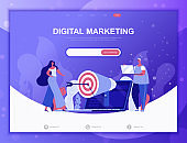 Digital Marketing flat concept vector illustration template for website and mobile app development. Flat landing page template.