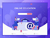 Education Process flat concept vector illustration template for website and mobile app development. Flat landing page template.
