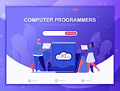 Computer Programmers flat concept vector illustration template for website and mobile app development. Flat landing page template.