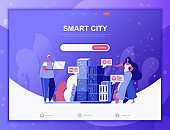 Smart City flat concept vector illustration template for website and mobile app development. Flat landing page template.