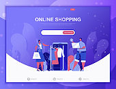 Online Shopping flat concept vector illustration template for website and mobile app development. Flat landing page template.