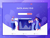 Data Analysis flat concept vector illustration template for website and mobile app development. Flat landing page template.