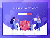 Business Investment flat concept vector illustration template for website and mobile app development. Flat landing page template.